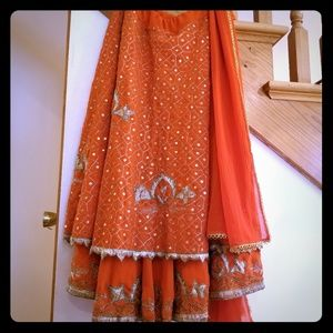 Dresses & Skirts - Orange Indian skirt with matching scarf